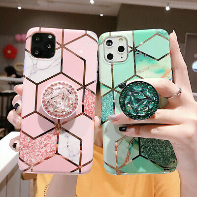 AU7.98 • Buy IPhone 11 Pro Max XR 8 7 Plus XS Geometric Marble Case Cover With Stand Holder