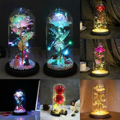 AU26.55 • Buy LED Light Enchanted Rose In Glass Dome Valentine's Day Gift Home Decoration AU