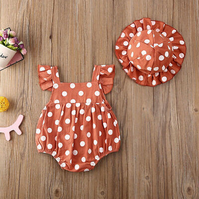 Newborn Baby Girl Romper Ruffle Tops Jumpsuit Floral Hat Clothes Outfit • 9.99£