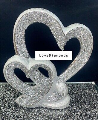 £21.99 • Buy Crushed Diamond Silver Crystal Double Heart Ornament, Shelf Sitter