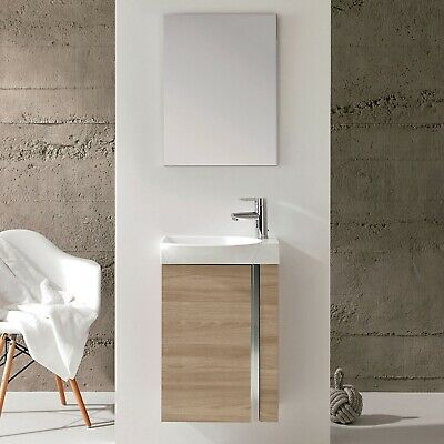 £277.95 • Buy Elegance Wall Hung Vanity Unit With Basin And Mirror 445mm Wide Walnut
