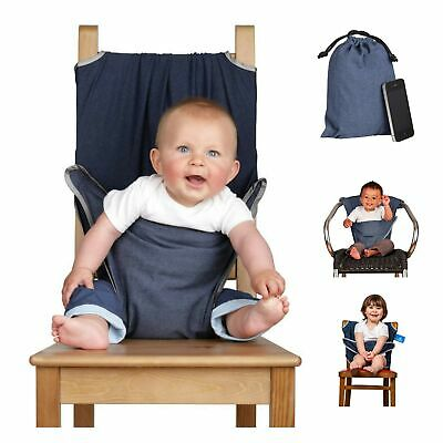 The Totseat Portable Travel High Chair (100% Cotton Denim Blue) | Convenient,... • 48.79£
