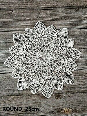 Round White Lace Embroidery Table Place Mat Gift Pad Cup Napkin Doily Cookware • 2.14£