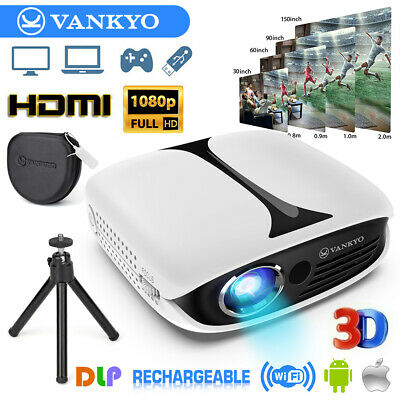 VANKYO Pocket Projector Rechargeable DLP 1080P 3D Support HDMI & WIFI Projection • 158.99£