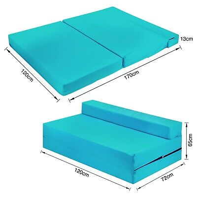 £75.88 • Buy Fold Out Foam Double Guest Z Bed Chair Folding Mattress Sofa Bed Futon TURQUOISE