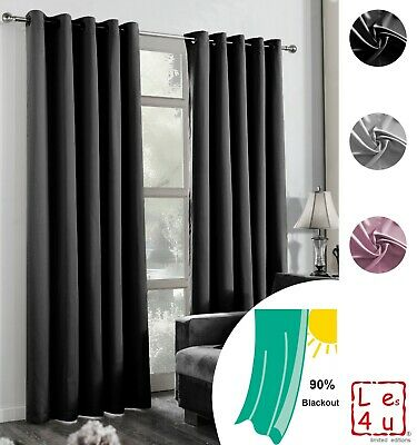 Blackout Eyelet Curtains Ring Top Ready Made 2 Panel Thermal Self Lined Curtain • 17.95£