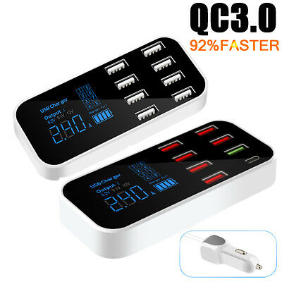AU23.09 • Buy 8-ports USB Car Display Charger Station Hub For IPhone Samsung QC3.0 FAST Type-C