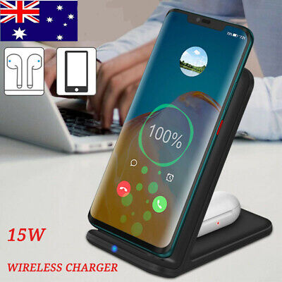 AU21.99 • Buy ✅15W Qi Wireless Charger Fast Charging Dock Stand For Airpods2 IPhone 12 11 XS 8
