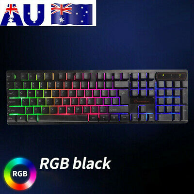 AU18.99 • Buy Wired Backlit Mechanical RGB LED 104 Keys Gaming Keyboard Switches Anti-Ghosting