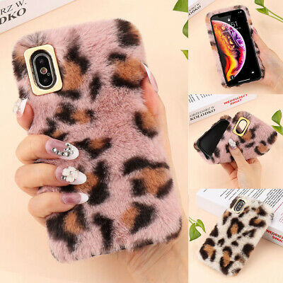 For IPhone 11 7 8 SE XR XS Leopard Print Fluffy Faux Fur Protective Case Cover • 4.29£