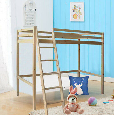 Single 3ft Kids Loft Cabin Bed Safety High Sleeper Desk With Stairs Bunk Bedroom • 215.95£