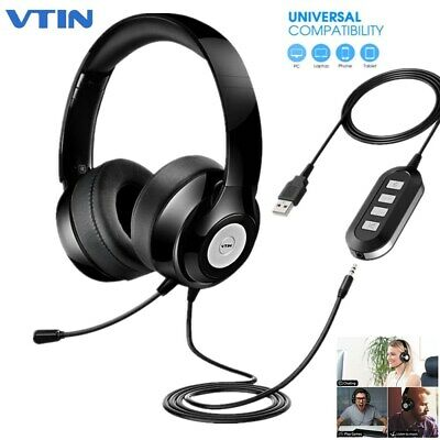 VTIN USB 3.5mm Wired Computer Headset Stereo Headphones Mic For Skype PC Laptop • 27.07£