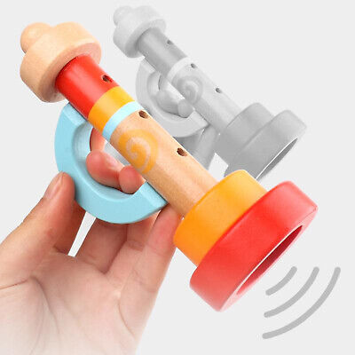 Wood Musical Trumpet 3 Hole Horn Wind Instrument For Kids Art Birthday Toys • 4.72£