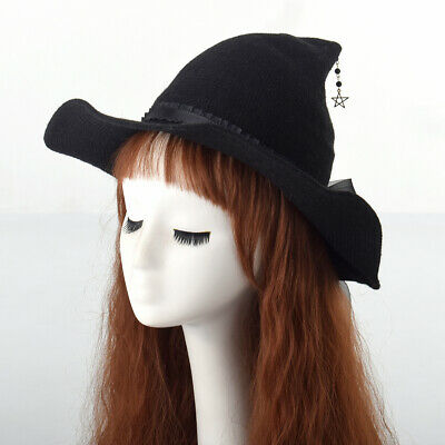 Medieval Hat With Floral Ribbon Bowknot For Witch Black Cosplay Coustume Hat • 17.35£