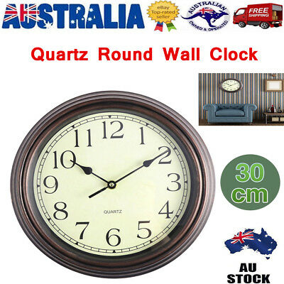 AU22.11 • Buy Vintage 12inch Silent Non-Ticking Wall Clock Decor Indoor Analogue Clock