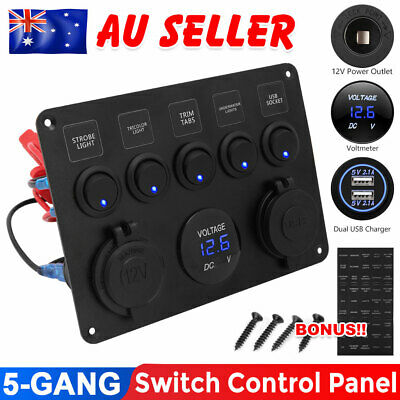 AU27.59 • Buy 5 Gang 12V Switch Panel Control USB Charger ON-OFF Toggle For Truck Marine Boat