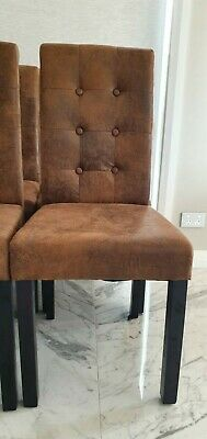 AU65 • Buy Leather-look Dining Chair, Brown - 8 X Chairs Available