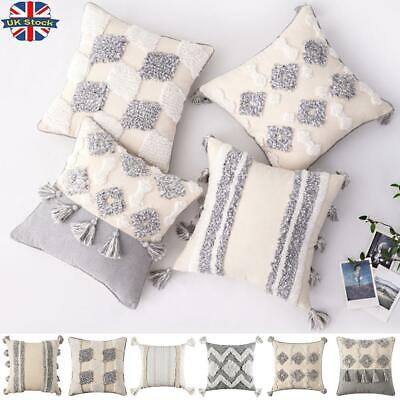 2Pcs Morocco Tassel Cushion Cover Tufted Boho Square Shaggy Pillow Cases 45x45cm • 13.29£