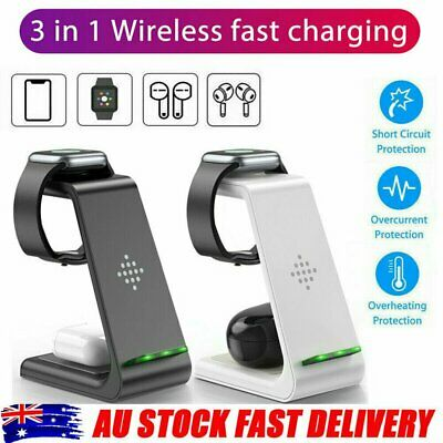 AU33.95 • Buy 3 In 1 Wireless Charger Dock Charging Station For Apple Watch IPhone 12 11 XS 8+