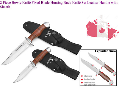 $ CDN32.79 • Buy 2 Piece Bowie Knife Fixed Blade Hunting Buck Knife Set Leather Handle With Sh...