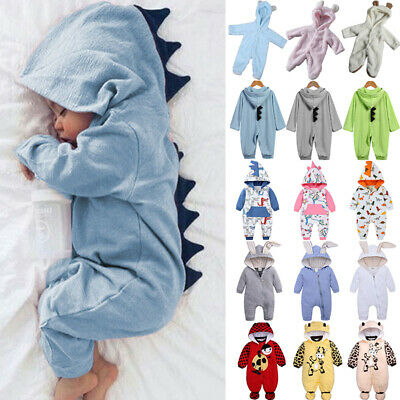 Baby One Piece Bunny Hoodies Animals Romper Jumpsuit Casual Winter Warm Outfits • 10.25£