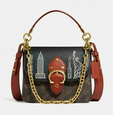 COACH Beat Shoulder Bag 18 Signature Canvas Stardust City Skyline Embroidery NWT • 337.96£