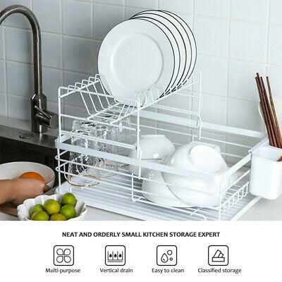 AU32.99 • Buy 2 Tier Metal Dish Drying Rack Tray Kitchen Holder Cutlery Drainer Set Rust Free