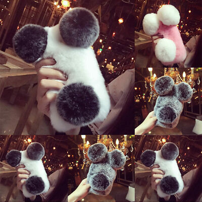 Lovely Fluffy 3D Panda Faux Fur Soft Phone Case Cover For IPhone 12 11 XR 7 8 SE • 5.39£