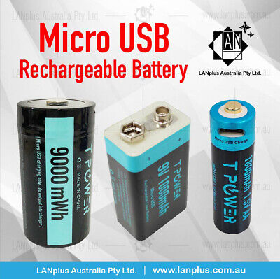 AU19.95 • Buy D Size / 9v /1.5V AA Size Rechargeable Lithium Battery Micro USB Port Long Cycle