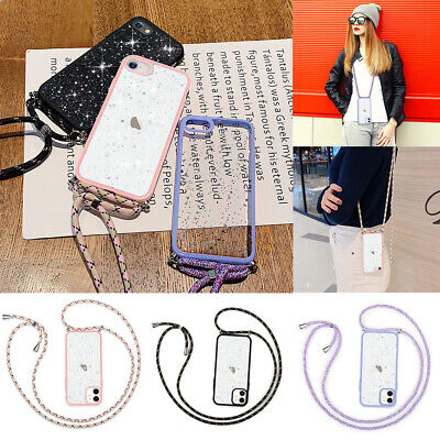 Crossbody Lanyard Bling Glitter Clear TPU Case Cover For IPhone 11 12 XR 7 8 SE • 3.59£