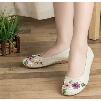 £13.99 • Buy Women Embroidered Floral Flats Shoes Ethnic Linen Chinese Cloth Loafers Casual