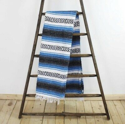 Blue Blanket Throw Rug Large Stripe Handmade Fair Trade Authentic Mexican Falsa • 29.99£