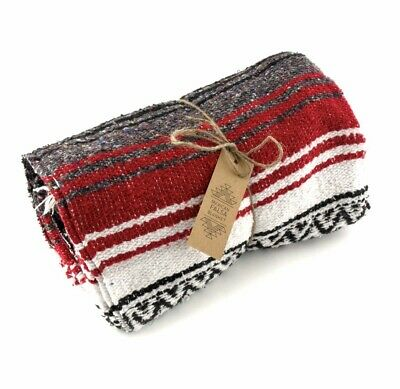 Red Blanket Throw Rug Large Stripe Handmade Fair Trade Authentic Mexican Falsa • 29.99£