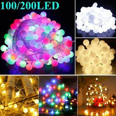 100/200LED Globe Bulb Ball Fairy String Lights Mains Powered Outdoor Light Xmas • 11.56£