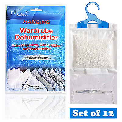 View Details 12 X Dehumidifier Hanging Bags Mould Mildew Damp Wardrobe Drawers Sachet Pack • 11.99£