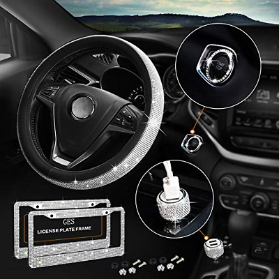 $39.83 • Buy Bling Car Accessories For Women, Steering Wheel Cover Fit 15 Inch, License Plate