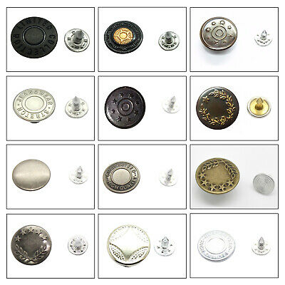 17mm Hammer On Denim Jeans Buttons Studs With Pins For Denim Jacket Pack Of 8pcs • 3.09£
