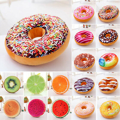 3D Soft Plush Donut Shaped Fruit Food Cushion Waist Pillow Cover Sofa Seat Floor • 9.69£