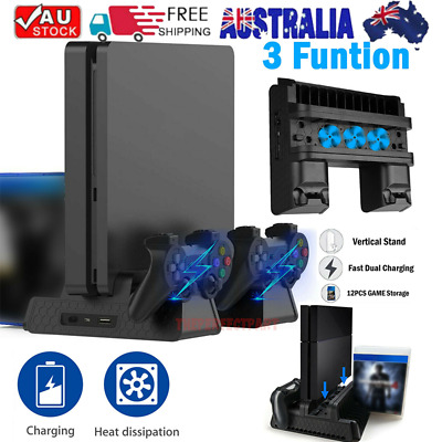 AU36.12 • Buy For PS4 Pro/Slim Vertical Stand+Cooling Fan Controller Charging Dock Station AU