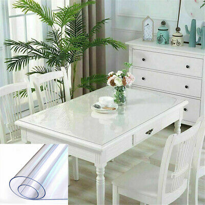 AU44.87 • Buy PVC Crystal Clear Plastic Table Cover Mat Thick For Desk Dining Table 90x160cm