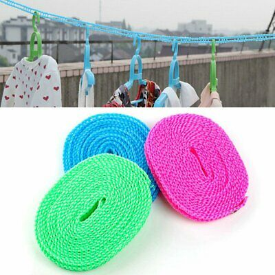 Non-slip Wind-proof Wrap Retractable Rope Camping Travel Washing Line Outdoor GN • 3.53£