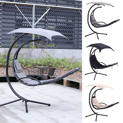 Garden Egg Chair Hanging Hammock Lounger With Stand Patio Swing Chair Outdoor UK • 235.14£