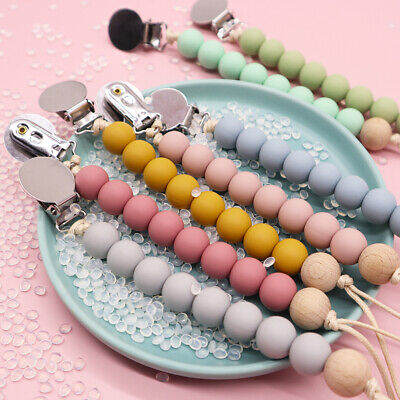 Pacifier Clips Dummy Holders Teething Baby Soother Chain Teether Beads Toy UK • 4.54£