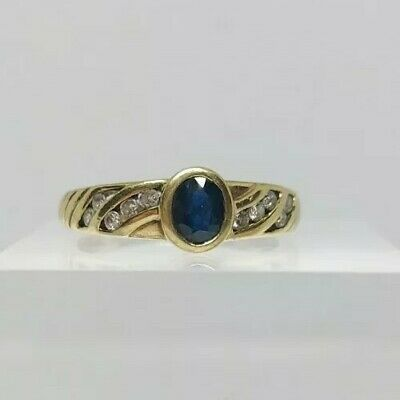 9ct Gold Diamond And Sapphire Ring Size 0 • 95£
