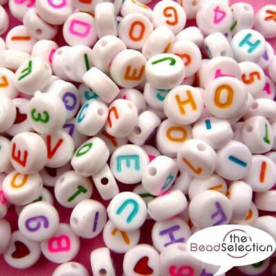 £3.39 • Buy 500 MIXED WHITE ALPHABET BEADS 7mm ROUND ASSORTED COLOURS ACR178