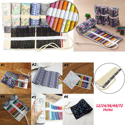 £7.50 • Buy 12-72Holes Roll Up Colored Pencil Case Canvas Pen Bag Stationery Storage Pouch