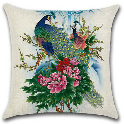 Nordic Peacock Print Pillow Case Cover Bedroom Home Sofa Decoration Cusion Cover • 5.50£