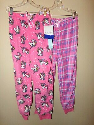 $17.99 • Buy Lot Of 2 Freestyle Revolution Girls Fleece Sleep Pants-10-Unicorn-Plaid