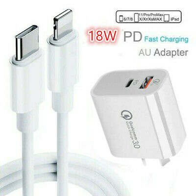 AU7.99 • Buy Genuine PD 18W Charging Type-C To Lightning Cable Wall Charger For IPhone 12 11
