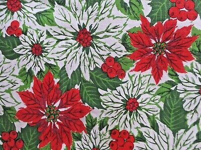 $ CDN24.26 • Buy Vintage Christmas Mid Century Modern Red Green White Poinsettias Tablecloth